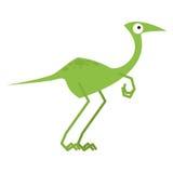 Um dinossauro verde dos desenhos animados bonitos do vetor isolado Ilustração Stock