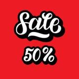 Um disconto da venda ajustou-se com 50 por cento e volume 3D Rotulação da venda no fundo vermelho Ilustração do vetor Mão Fotografia de Stock Royalty Free