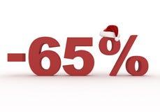 Um disconto de 65 por cento assina dentro o chapéu de Santa Claus Imagem de Stock Royalty Free
