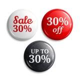 um disconto de 30 por cento em botões ou em crachás lustrosos Promoções do produto Vetor Fotografia de Stock Royalty Free