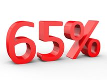 um disconto de 65 por cento Números 3d vermelhos no fundo branco isolado Fotos de Stock