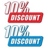 um disconto de 10 porcentagens em dois colore etiquetas, projeto liso Fotos de Stock Royalty Free