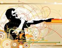 Um DJ no fundo abstrato do grunge da cor Ilustração Royalty Free