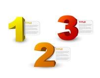 Um dois três - ícones do progresso do vetor 3D Imagem de Stock