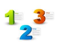 Um dois três - ícones do progresso do vetor 3D Fotos de Stock Royalty Free
