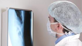 Um doutor novo examina os resultados de um raio X paciente do ` s na parede Analisa do tórax e dos reforços video estoque