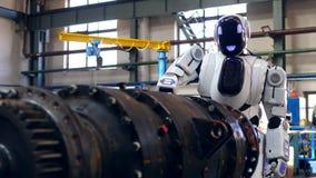 Um droid trabalha em uma planta, parafusando detalhes do metal filme