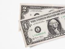 Um e dois dólares de contas - formato CRU   Fotografia de Stock