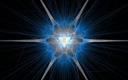 Um emblema fantástico na forma de uma flor cósmica com uma meados de-cor brilhante em um fulgor azul e na irradiacão irradia em u Imagem de Stock