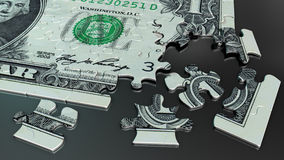 Um enigma de serra de vaivém da conta de dólar Foto de Stock Royalty Free