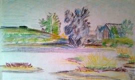 Um esboço áspero da paisagem com os lápis coloridos no Livro Branco ilustração do vetor
