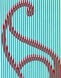 Um esboço colorido de uma forma de onda com swirly linhas ilustração stock