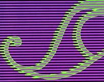 Um esboço colorido de uma forma de onda com swirly linhas ilustração do vetor