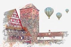 Um esboço da aquarela ou uma ilustração da arquitetura alemão tradicional em Nuremberg em Alemanha ilustração stock
