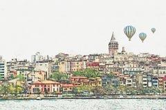 Um esboço da aquarela ou uma ilustração de uma ideia bonita da arquitetura tradicional em Istambul ilustração royalty free