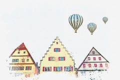 Um esboço da aquarela ou uma ilustração de uma rua bonita no der Tauber do ob de Rothenburg em Alemanha ilustração royalty free