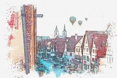 Um esboço da aquarela ou uma ilustração de uma rua bonita no der Tauber do ob de Rothenburg em Alemanha ilustração do vetor