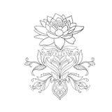Um esboço de lótus bonitos em um ornamento gracioso em um fundo branco Fotos de Stock Royalty Free