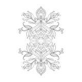 Um esboço de lótus bonitos em um ornamento gracioso em um fundo branco Foto de Stock Royalty Free