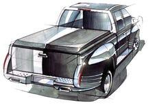 Um esboço de um recolhimento íngreme de SUV para atividades exteriores Imagens de Stock Royalty Free