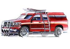 Um esboço de um recolhimento íngreme de SUV para atividades exteriores Fotografia de Stock Royalty Free