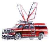 Um esboço de um recolhimento íngreme de SUV para atividades exteriores fotos de stock royalty free