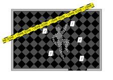 Um esboço do corpo com a fita e os números da cena do crime, isolados Foto de Stock Royalty Free