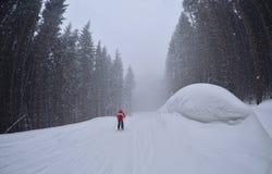 Um esqui do homem na fuga da floresta, Bukovel Foto de Stock