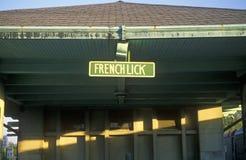 Um estação de caminhos-de-ferro histórico em francês lambe, Indiana Imagem de Stock Royalty Free