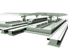 Um estação de caminhos-de-ferro moderno Imagens de Stock Royalty Free