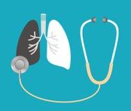 Um estetoscópio escuta os pulmões Foto de Stock Royalty Free