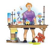 Um estudante (aluno) que experimenta em um laboratório Imagens de Stock Royalty Free