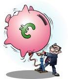 Um Euro inflado homem de negócios da economia Foto de Stock Royalty Free