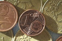 Um Eurocent, Euro Choins Foto de Stock