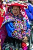 Um executor na parada do primeiro de maio em Cusco no Peru Imagens de Stock