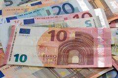 Um fã de euro- notas Fotos de Stock Royalty Free