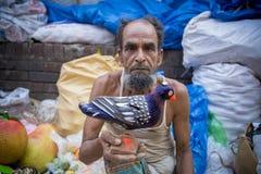 Um fabricante feito a mão dos brinquedos mostrou sua argila-pomba da criação na feira de Pohela Baishakh Fotografia de Stock Royalty Free
