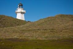 Um farol em um monte gramíneo no ponto de Waipapa no Catlins na ilha sul em Nova Zelândia fotos de stock royalty free