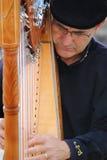 Paixão do retrato do músico do busker que joga a harpa F Fotografia de Stock Royalty Free