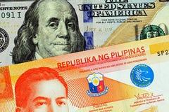 Um fim acima da imagem de um peso vinte filipino com umas cem notas de dólar americana imagem de stock royalty free