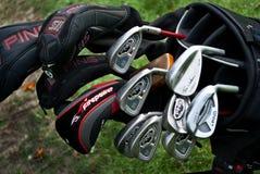 Um fim acima de clubes de golfe Fotos de Stock