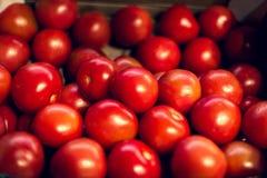 Um fim acima de um grupo de tomates vermelhos em uma caixa foto de stock royalty free