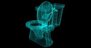 Um Fio-quadro de um toalete, 3D rendido com meus próprios projeto ilustração royalty free