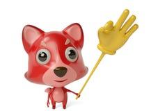Um firefox dos desenhos animados com um dedo brinca ilustração 3D Foto de Stock Royalty Free
