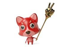 Um firefox dos desenhos animados com um dedo brinca ilustração 3D Imagens de Stock Royalty Free