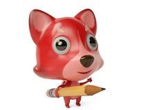 Um firefox dos desenhos animados com um lápis ilustração 3D Imagens de Stock Royalty Free