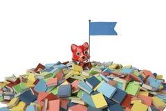 Um firefox dos desenhos animados na montanha dos livros ilustração 3D Fotografia de Stock