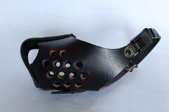 Um focinho em couro de batida blindado para o cão da segurança Fotografia de Stock