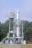 Um foguete no Redstone histórico Rocket Test Site no George C Marshall Space Flight Center em Huntsville, Alabama Fotografia de Stock