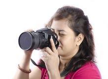 Um fotógrafo da mulher Fotos de Stock